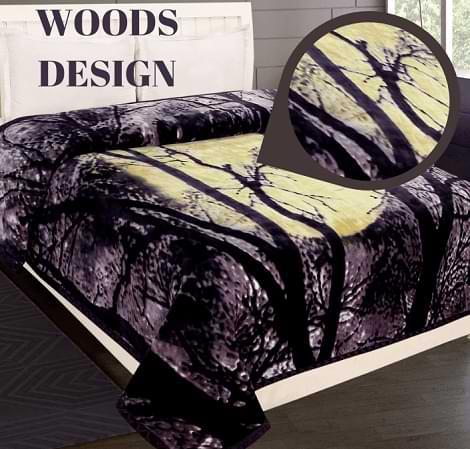 Birmi Shilay Double Bed Super Soft Luxury Mink Blanket Woods Purple